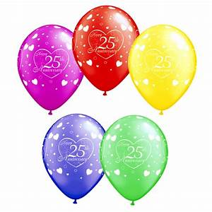 assorted happy 25th anniversary printed balloons pack of With 25th wedding anniversary balloons decorations