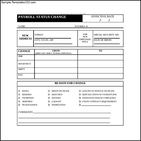 Payroll Change Form Template Free by Payroll Form Templates Hunecompany