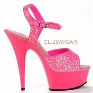 PLEASER y Neon Hot Pink UV Blacklight Glow Platform 6