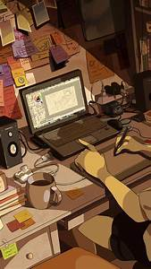 Female, Anime, Character, Sitting, On, Chair, Near, Laptop, Computer, Wallpaper, U2022, Wallpaper, For, You, Hd