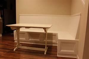 Furniture White Wooden Corner Storage Bench On Brown