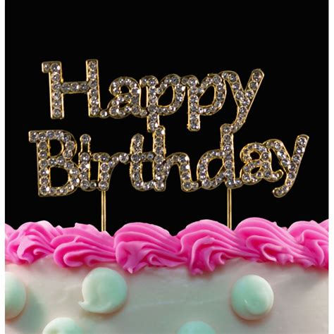 buy bling happy birthday cake toppers silver  gold