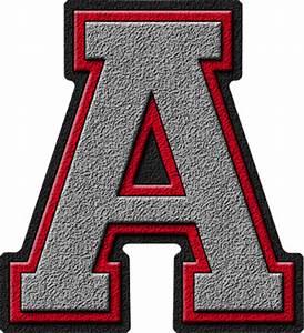 Presentation Alphabets: Silver & Red Varsity Letter A