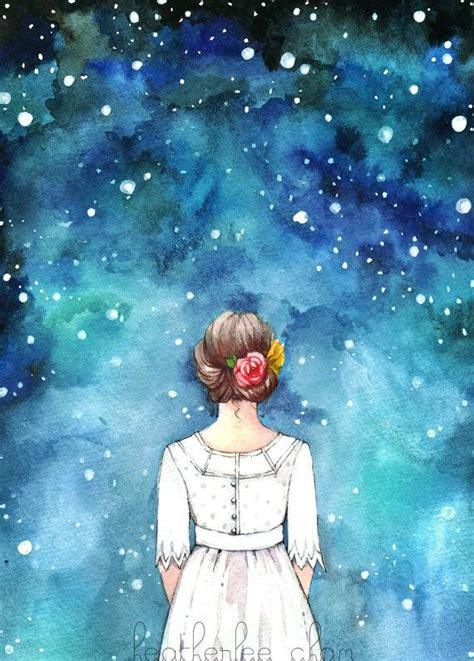 Starry Night Sky Girl Watercolor Art Painting Print