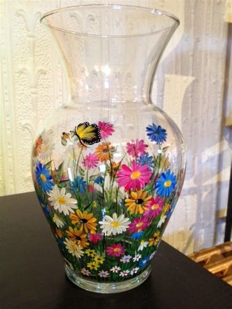 glass painting flower vase gemcraftboutique painted vase wildflowers