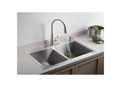 kohler stainless steel sink and faucet package faucet com k 3820 4 na in stainless by kohler