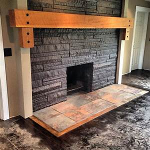 Fire place Solid wood mantle, slate hearth ideas