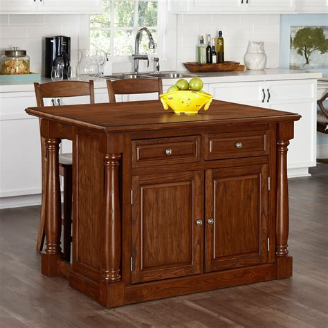 kitchen island cart with stools home styles monarch kitchen island with optional stools 8157