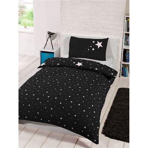Black And White Single Duvet Cover by Glow In The Single Duvet Set Black Bedding