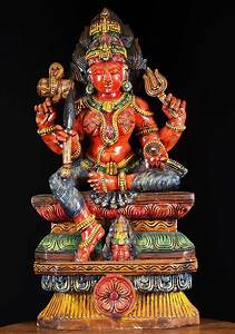 Sold Wood Red Shakti Mariamman Statue 30 U0026quot    76w19cr