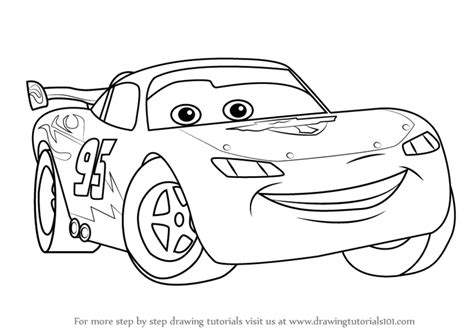 How To Draw Lightning Mcqueen From Cars Step By Step