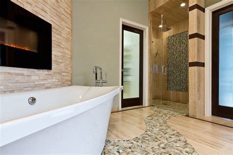 dining room ideas for small spaces sliced pebble tile spaces contemporary with bathroom sea