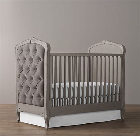 restoration hardware crib colette tufted crib pewter grey