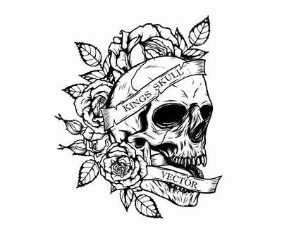 Skull Tattoo Drawing Hand Roses Vector Chrysanthemum