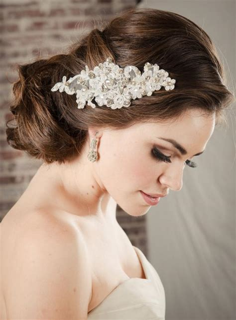 hair accessories bridal lace comb pearl rhinestone