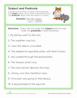 complete subject and complete predicate worksheet education