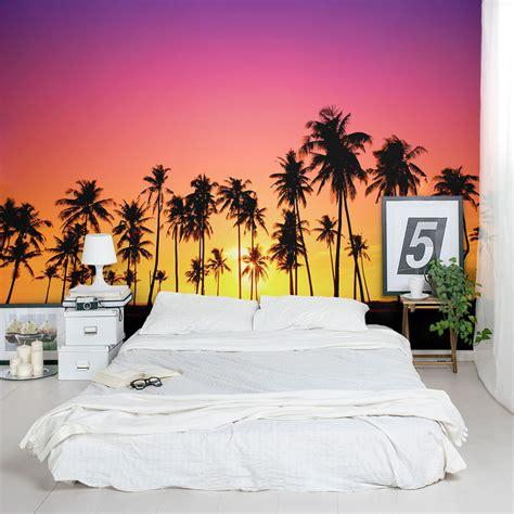 sunset  palm trees silhouette mural wallpaper