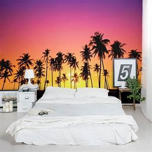 palm, tree, sunset, wall, mural