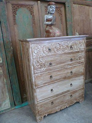 balinese furniture hand carved teak tall boy chest