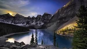 Nature, Landscape, Mountain, Canada, Alberta, Snow, Winter, Trees, Forest, Water, Lake, Sun