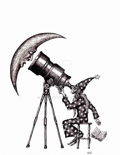 Surreal Drawings Ink Drawing Astronomer Pen Message