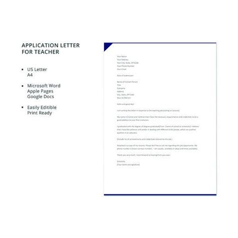 It also contains detailed information about why you consider yourself the most qualified for the job you're applying for. Job Application Letter For Teacher Templates - 12+ Free ...