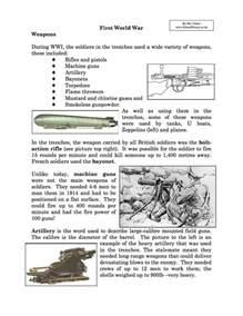 Weapons World War I Worksheet