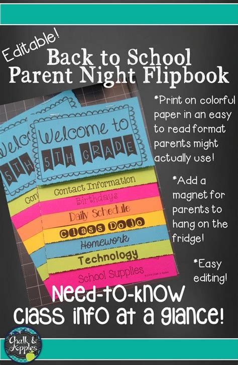 Welcome Back To School Flipbook For Meet The Teacher Night (editable Flip Book)  Chalk & Apples