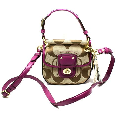coach poppy signature mini  willis handbag crossbody bag berry  coach