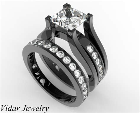 Princess Cut Diamond Wedding Ring Set In Black Gold Unique