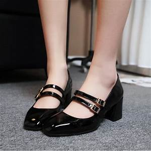 Women 39 S Black Patent Leather Vintage Heels Mary Shoes