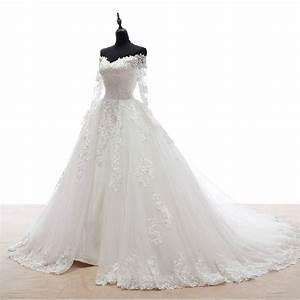 Modest long sleeve wedding dresses 2015 romantic v neck a for Long sleeve v neck wedding dress