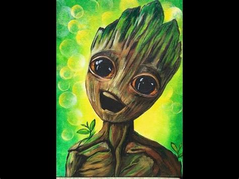 paint baby groot step  step  face