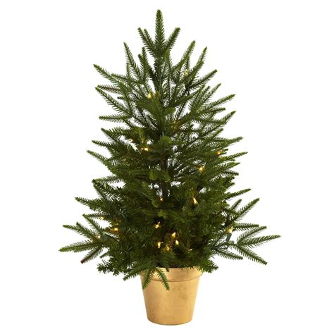 2 5 foot artificial christmas tree in golden planter