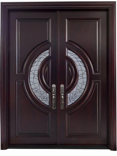 crescent mahogany double front entry doors black