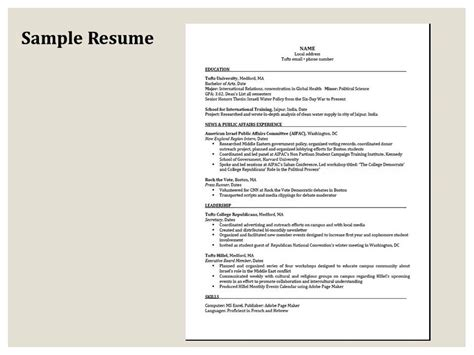 Tufts Resume Tips by Tufts Career Services Cover Letters Cover Letter Sle