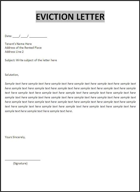 eviction letter format  word templates