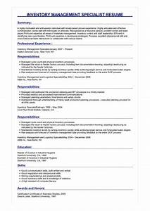 Inventory Specialist Resume Sample Inventory Management Specialist Resume