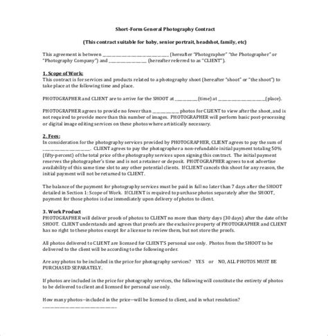 18+ Photography Contract Templates  Pdf, Doc Free