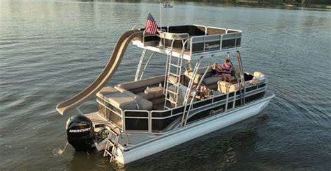 Deck Pontoon With Slide by 30 Best Decks On Pontoon Boats Images On