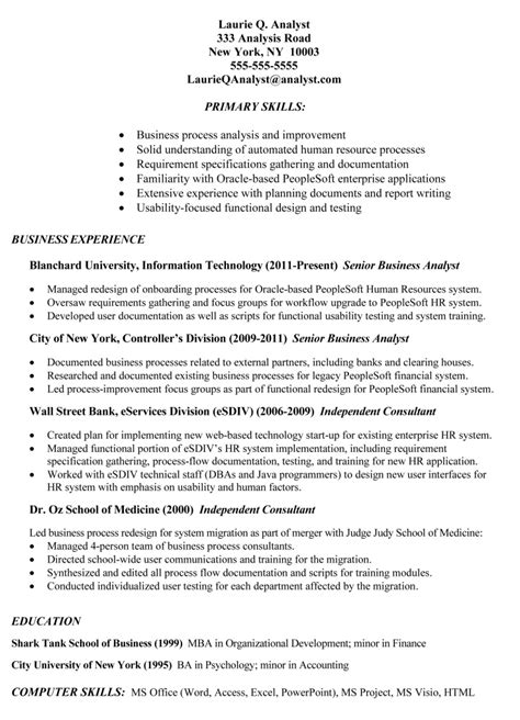 exle of business analyst resumes student resume template