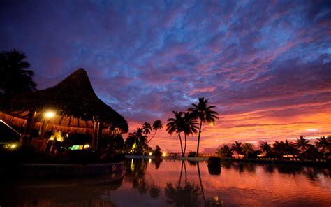 tahiti sunset bora bora islands eclipse red clouds palms