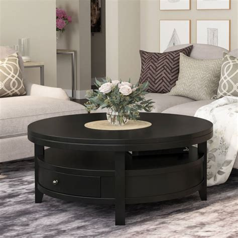Gerrish modern industrial coffee table set by christopher knight home. Toledo Solid Wood Black Modern Round Coffee Table