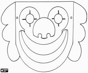 clown mask coloring page printable game With clown mask template
