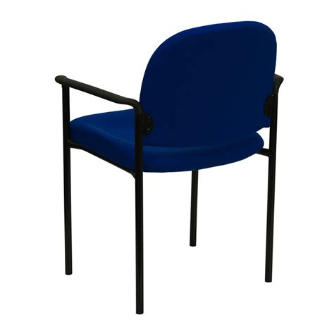 comfortable stack visitor fabric chair with arms blue