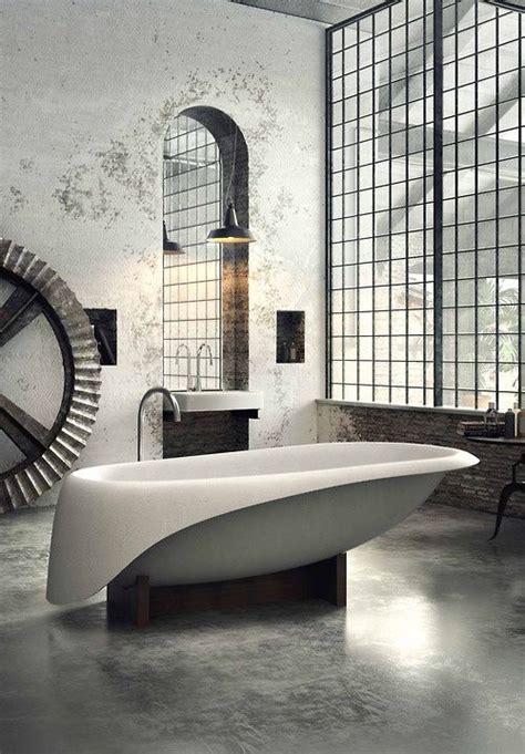 corian resine salle de bains deco design epuree blanc baignoire ronde fenetres atelier sol beton