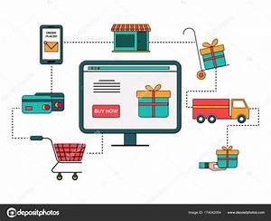 Compras En L U00ednea De Diagrama De Proceso Infogr U00e1fico En Estilo Plano   U2014 Vector De Stock