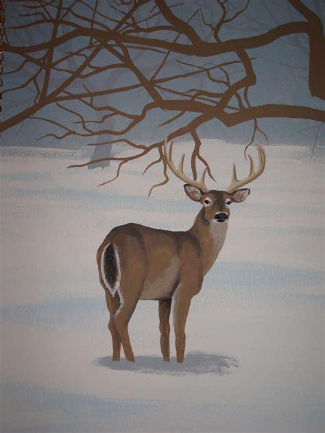 winter trees and deer mural