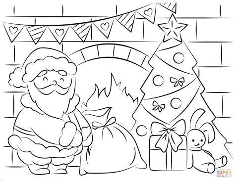Santa Claus Bringing Presents In Christmas Coloring Page