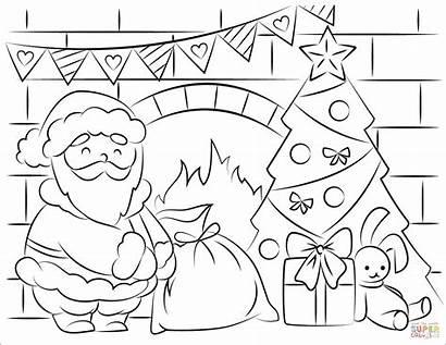 Coloring Santa Claus Christmas Pages Presents Printable